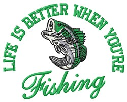 Better Fishing embroidery design