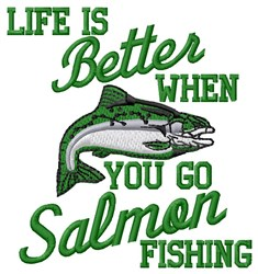 Go Salmon Fishing embroidery design