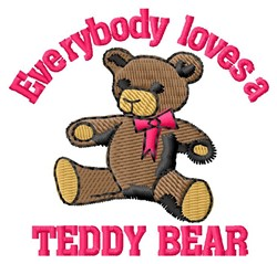 Loves Teddy Bear embroidery design