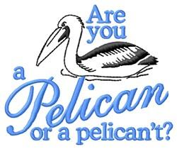 A Pelican embroidery design