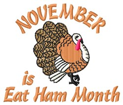Eat Ham Month embroidery design