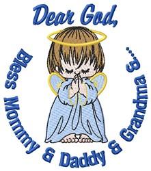 Dear God Bless embroidery design