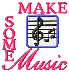 Make Music embroidery design