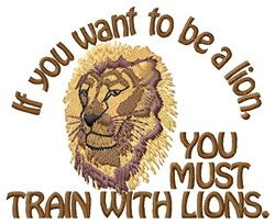 Train With Lions embroidery design