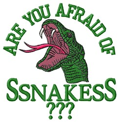 Afraid Of Snakes embroidery design