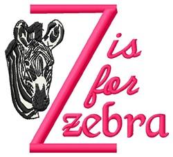 Z For Zebra embroidery design