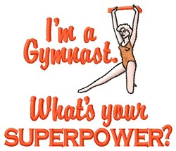 Gymnast Superpower embroidery design