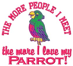 Love My Parrot embroidery design