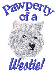 Westie Pawperty embroidery design