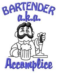 Bartender Accomplice embroidery design