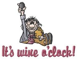 Wine Oclock embroidery design