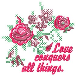 Love Conquers embroidery design