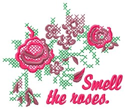 Smell Roses embroidery design