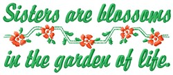 Sisters Are Blossoms embroidery design