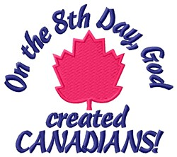 Created Canadians embroidery design