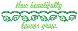Leaves Grow embroidery design