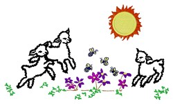 Sheep In Flowers embroidery design