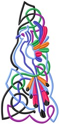 Abstract Bird embroidery design