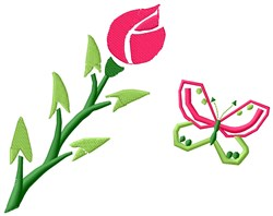 Rose & Butterfly embroidery design