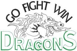Go Fight Win Dragons embroidery design