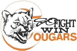 Go Fight Win Cougars embroidery design