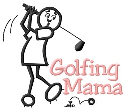 Golfing Mama embroidery design