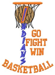 Indians Basketball Go Fight embroidery design