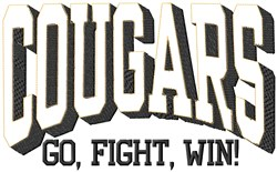Cougars Go Fight embroidery design