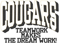 Cougars Teamwork embroidery design