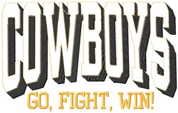 Cowboys Go Fight embroidery design