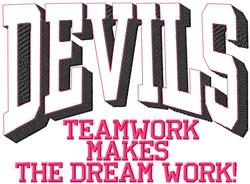 Devils Teamwork embroidery design