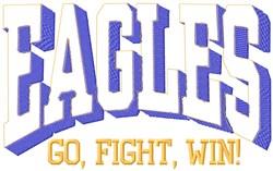 Eagles Go Fight embroidery design