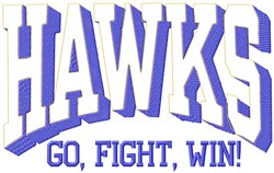 Hawks Go Fight embroidery design