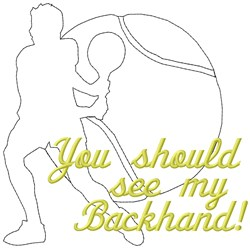 Backhand Tennis embroidery design