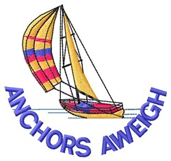 Anchors Sailboat embroidery design