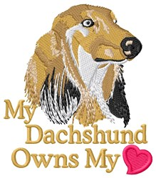 Dachshund Owns My Heart embroidery design