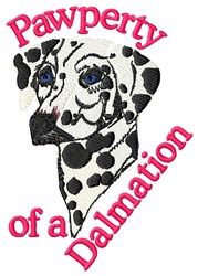 Pawperty Of A Dalmation embroidery design