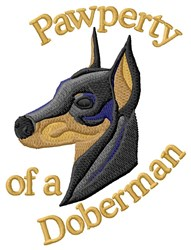 Pawperty Of A Doberman embroidery design