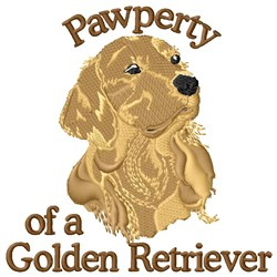 Pawperty Of Golden Retriever embroidery design