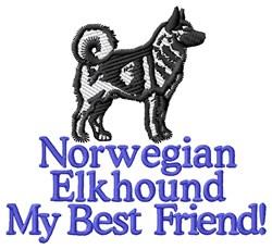 Norwegian Elkhound Best Friend embroidery design