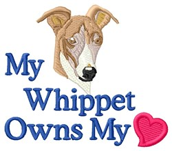 Whippet Owns My Heart embroidery design
