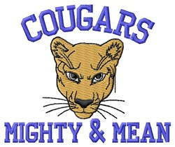 Mighty Cougars embroidery design