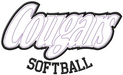 Cougars Softball embroidery design