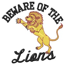 Beware Of Lions embroidery design