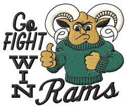 Rams Go Fight embroidery design
