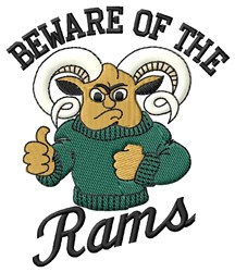 Beware Of Rams embroidery design