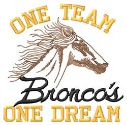 Broncos One Team embroidery design