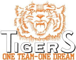 Tigers One Team embroidery design