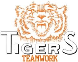 Tigers Teamwork embroidery design