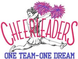 Cheerleaders One Team embroidery design